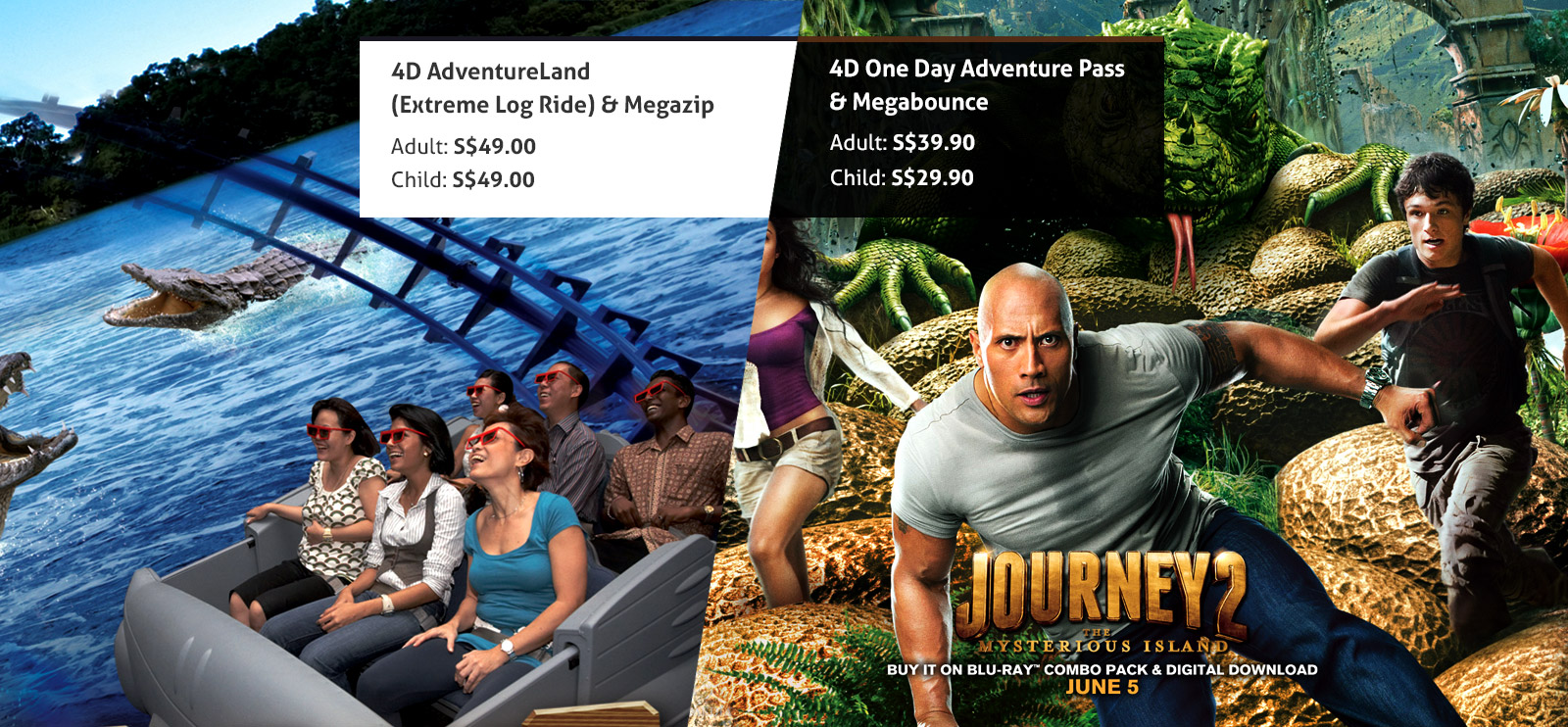 Extreme long ride and Megazip tickets offer 4d adventureland singapores best theme park all ages S$49