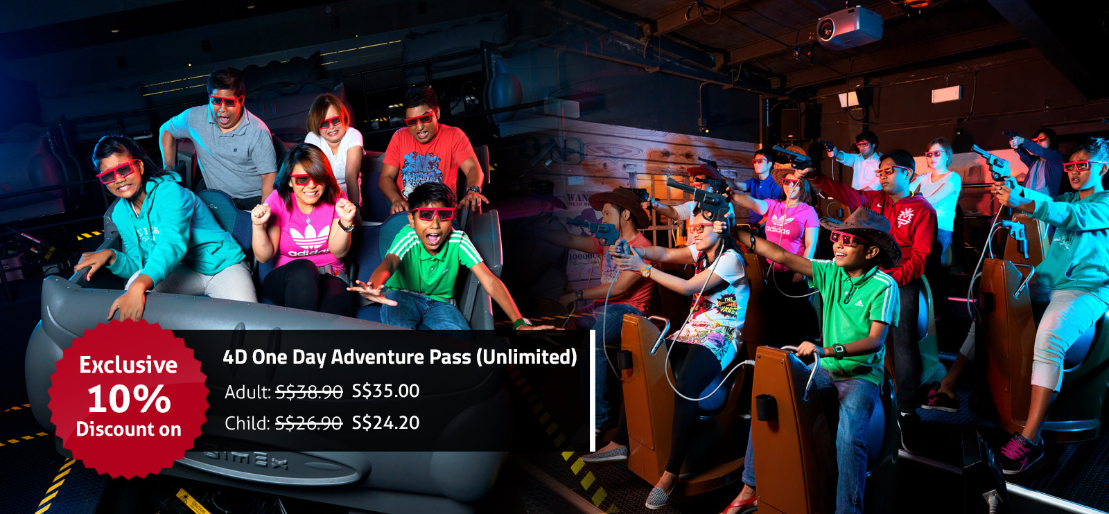 10 % discount on unlimited adventure pass only ad sentosa 4d adventure park